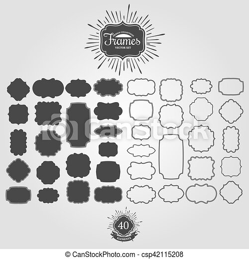 Vector, vendimia, conjunto, logos., marcos. Conjunto, logos., frames ...