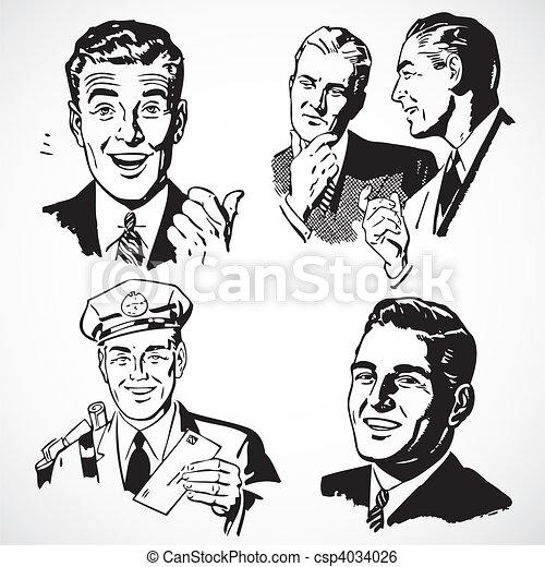 Hombres antiguos hablando y señalando - csp4034026