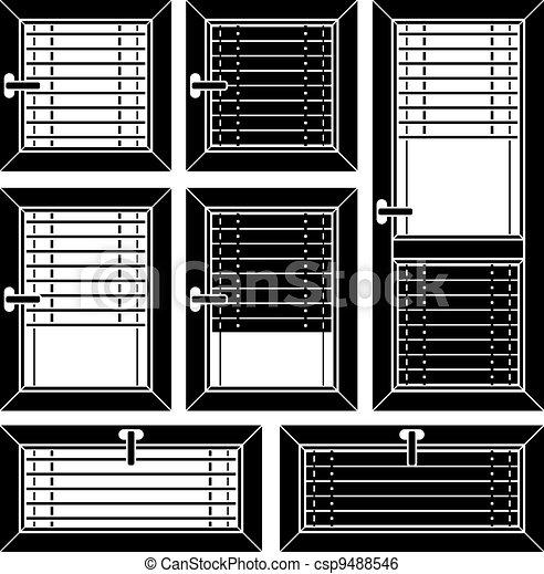 Vector Venetian Blind Window Black Symbols