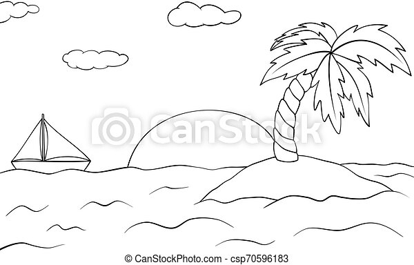 Isla desierta con palmera y barco. El paisaje del atardecer de verano. La ilustración del vector. Libro de color para niños. - csp70596183