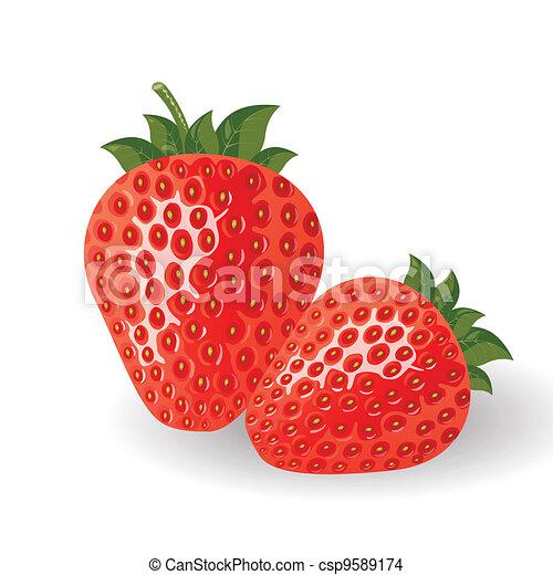 vector, verse aardbeien - csp9589174