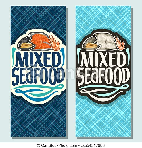 Vector Vertical Banners For Seafood Open Raw Mussel Sliced Piece