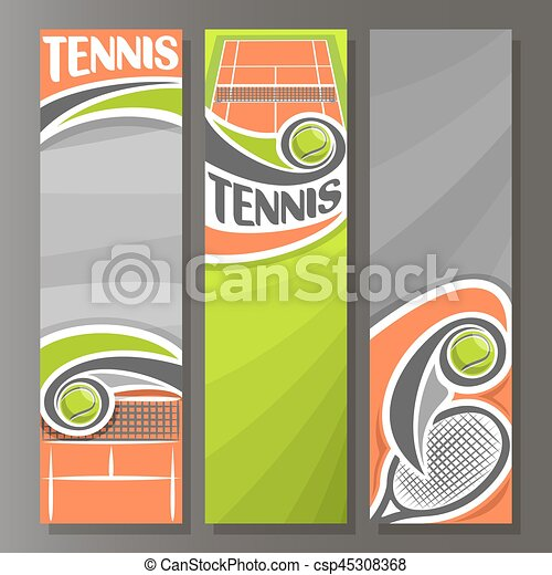 Vector Vertical Banners For Tennis 3 Template For Title Clip Art