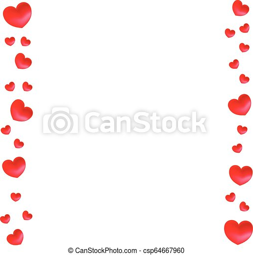 Vector Vertical Borders With Hearts For Greeting Invitation Wedding Cards Design Valentines Day Design