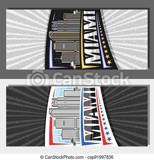 Vector vertical templates for Miami - csp91997836