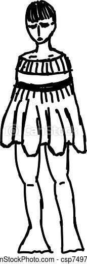 vector, vestido blanco, anormal, ilustración, fondo. - csp74975705