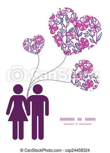 Vector vibrant field flowers couple in love silhouettes frame pattern invitation greeting card template - csp24458324
