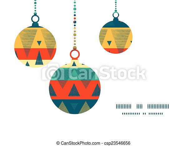 Vector Vibrant Ikat Stripes Christmas Ornaments Silhouettes Pattern Frame Card Template