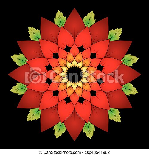 Vector Vibrant Red Colored Round Floral Natural Mandala On Black Background