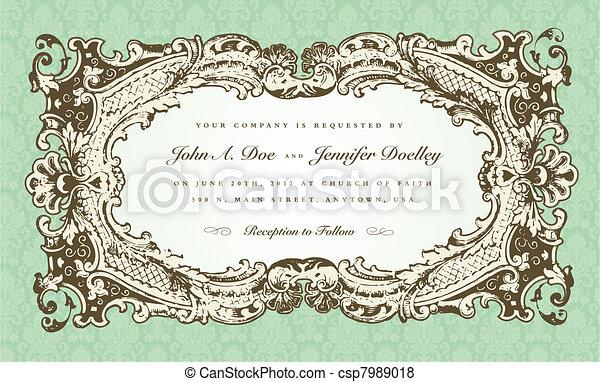Vector Victorian Wedding Frame for Invitation - csp7989018