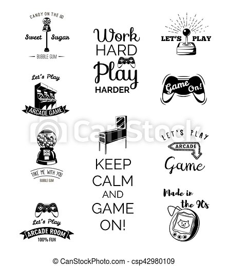 Vector Video Games Labels Set Arcade Game Room Let S Play