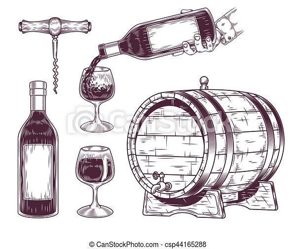 vector, vino, colección, iconos - csp44165288