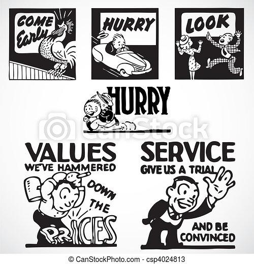Vector Vintage Advertising Signs - csp4024813