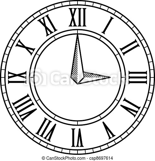 vector vintage antique clock face - csp8697614