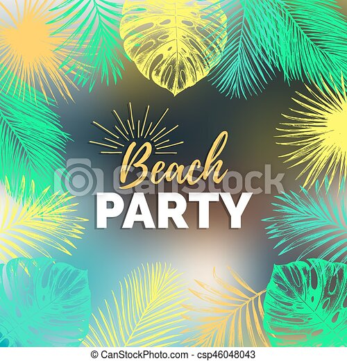 Vector Vintage Beach Party Illustration Exotic Palm Leaves Background Hand Sketched Jungle Foliage Poster