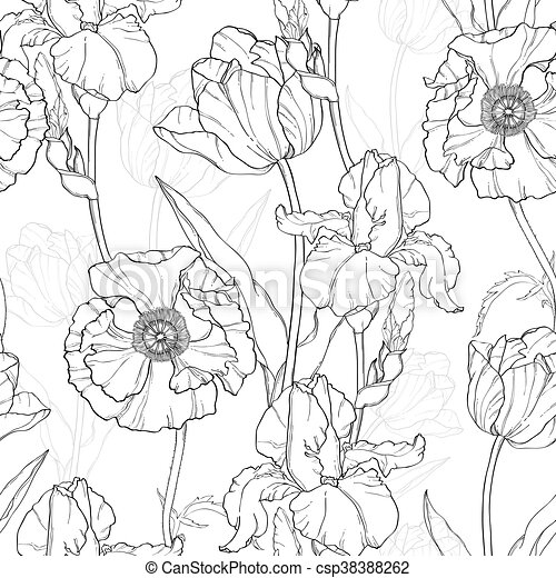 Vector Vintage Black White Flowers Drawing Seamless Repeat Pattern With Tulips