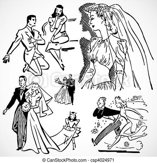 Vector Vintage Brides And Grooms