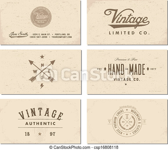 Vector vintage business card template set easy to edit clipart vector vintage business card template set reheart Image collections