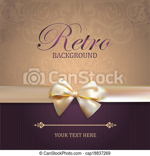 Vector Vintage card with Bow - csp18837269