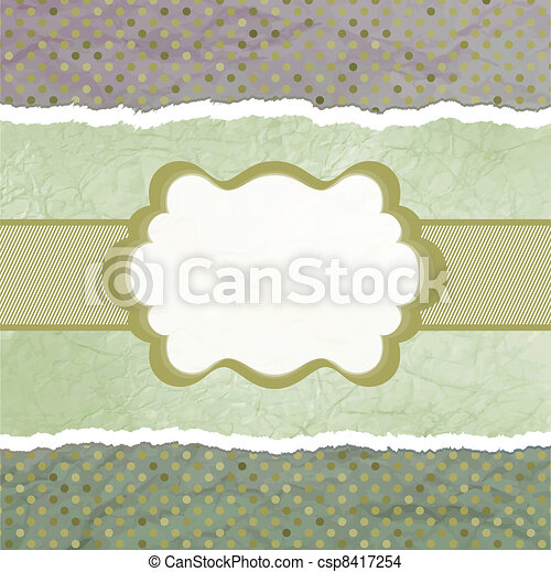 Vector vintage card with polka dots. EPS 8 - csp8417254