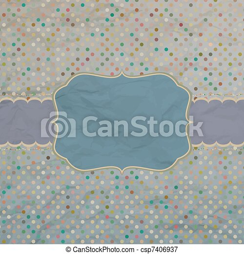 Vector vintage card with polka dots. EPS 8 - csp7406937