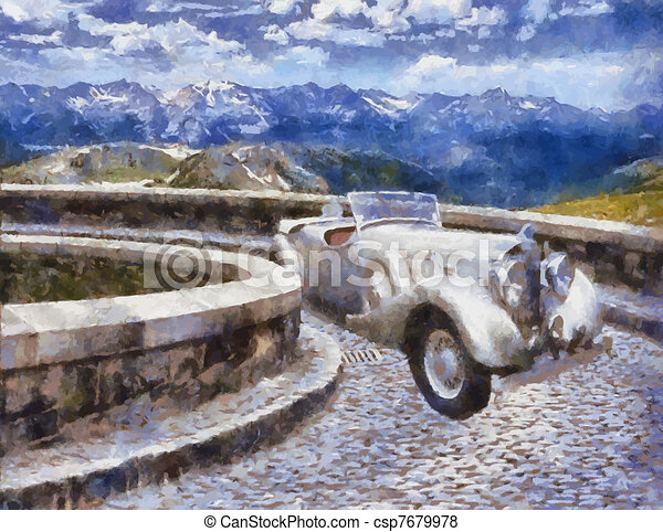Vector Vintage cars oil painting - csp7679978