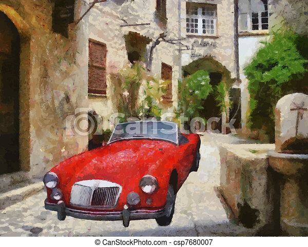 Vector Vintage cars oil painting - csp7680007