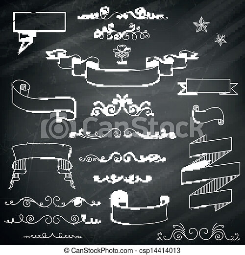 vector vintage chalkboard elements vector illustration of