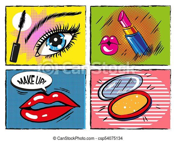 vector vintage comic pop art makeup and cosmetic design elements