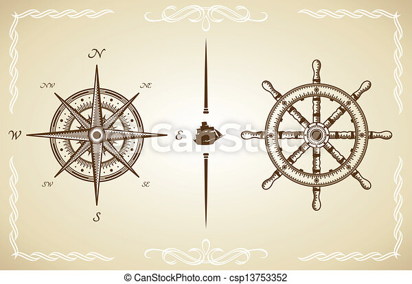 Vector Vintage Compass And Rudder