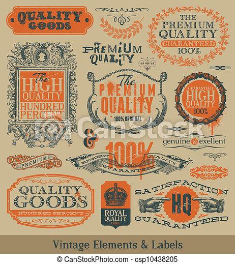 Vector vintage emblems and elements - csp10438205