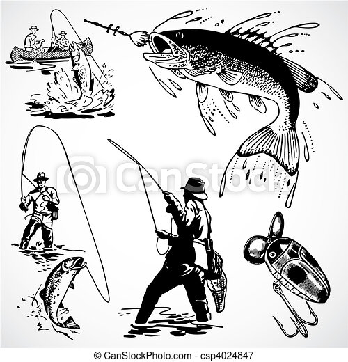 Vector Vintage Fishing Graphics - csp4024847