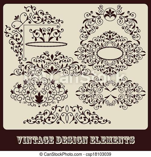 Vector  vintage floral design elements  - csp18103039