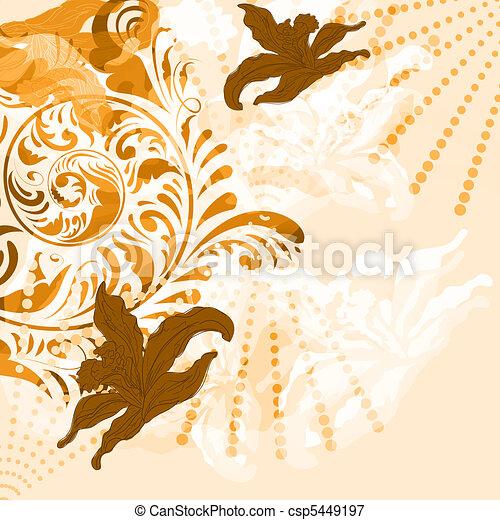 vector vintage floral grunge background - csp5449197