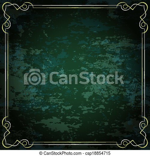Vector vintage frame on a green background - csp18854715