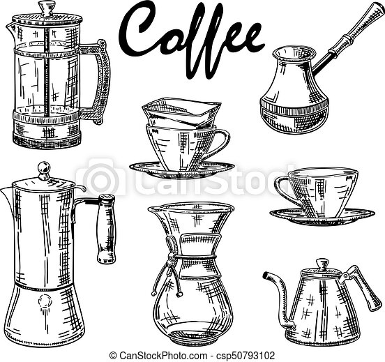 Vector Vintage Hand Drawn Coffee Set Vector Hand Drawn Illustration