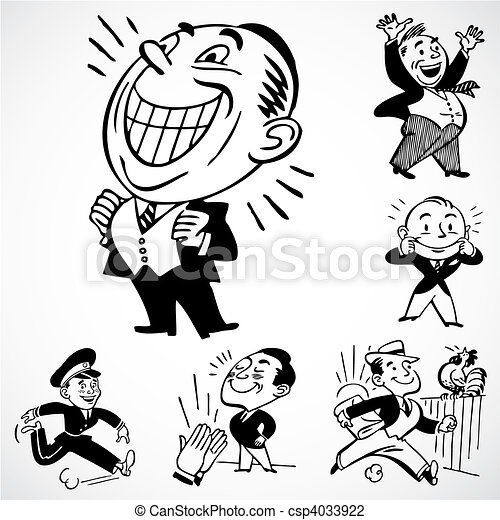 Vector Vintage Happy Men Vintage Vector Advertising