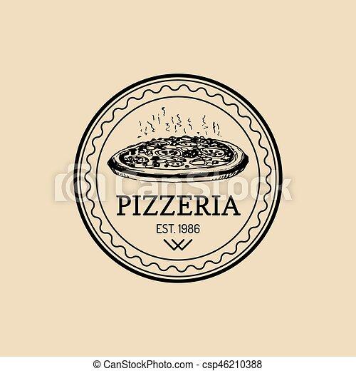 Vector Vintage Hipster Italian Food Logo Modern Pizza Sign Hand Drawn Mediterranean Cuisine Illustration