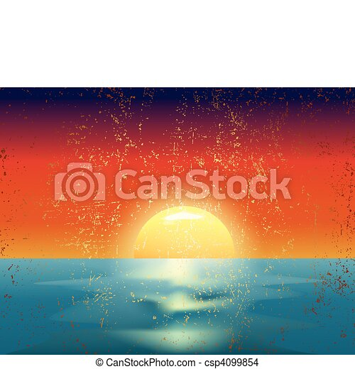 vector vintage illustration of the sunset on sea - csp4099854