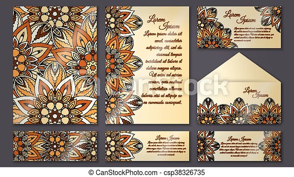 Vector vintage invitation card set floral mandala pattern and vector vintage invitation card set floral mandala pattern and ornaments oriental design layout islam arabic indian ottoman motifs front page and back stopboris Images