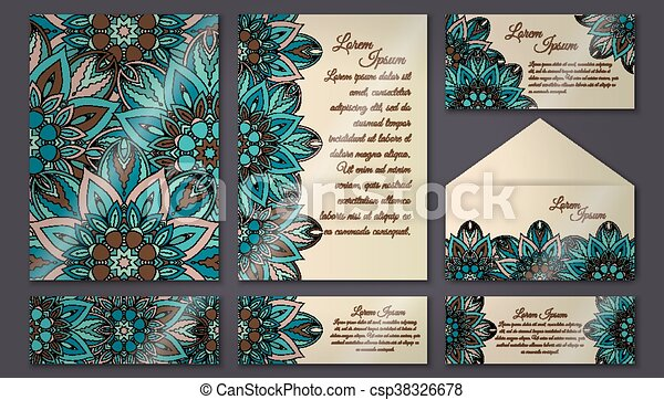vector vintage invitation card set floral mandala pattern and ornaments oriental design layout islam arabic indian ottoman motifs front page and back