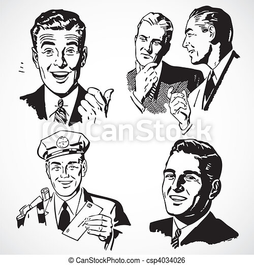 Vector Vintage Men Talking and Pointing - csp4034026
