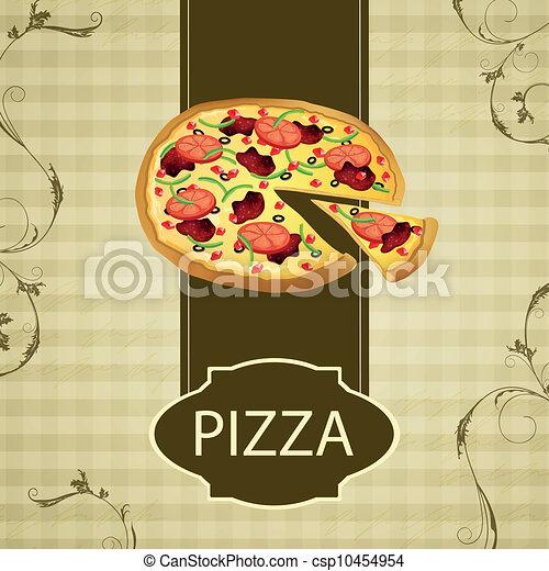 Vector Vintage Menu Card with a Pizza - csp10454954
