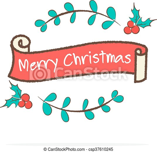 Merry Christmas Ribbon Clipart.Vector Vintage Merry Christmas Ribbon Banner In Doodle Style On White Background
