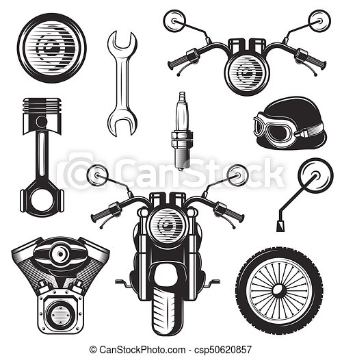 Vector Vintage Motorcycle Icons Symbols Set