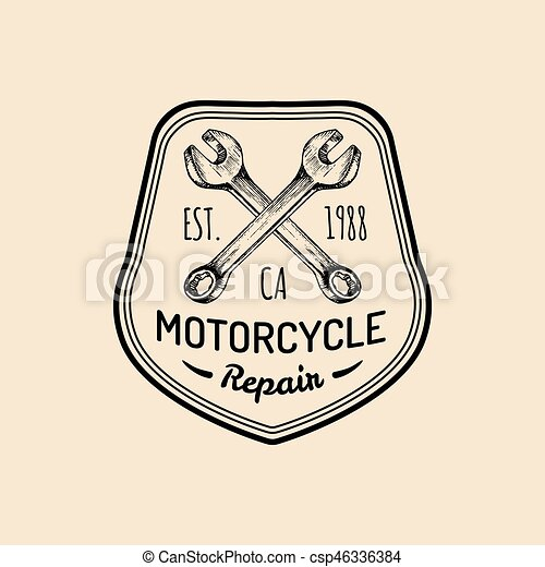 Vector Vintage Motorcycle Repair Logo Retro Garage Label With Hand Sketched Wrenches Custom
