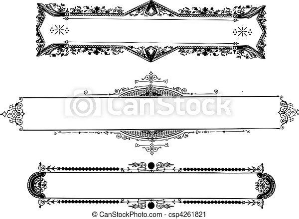 Vector vintage ornate frames. Vector ornate frame set. easy to ...