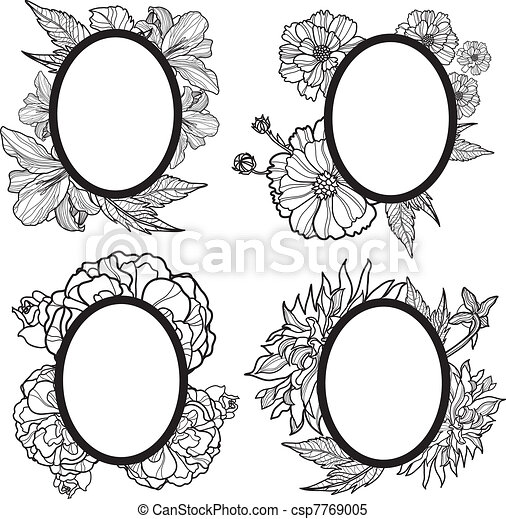 Vector vintage romantic frame design with flowers.