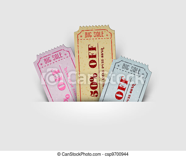 Vector vintage sale coupons - csp9700944