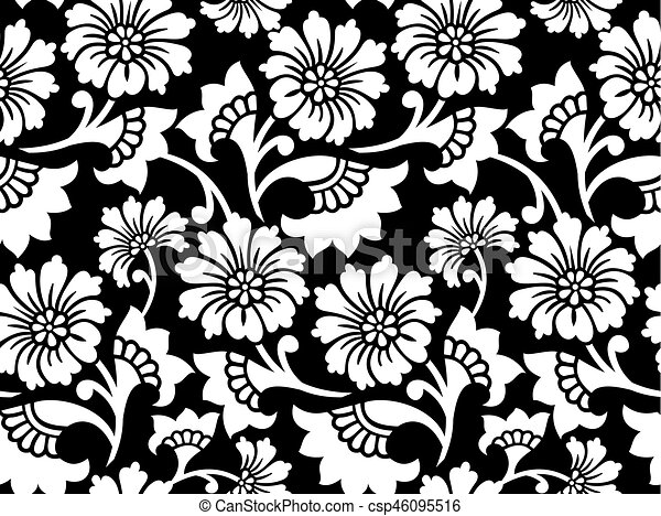 Vector Vintage Seamless White Floral Pattern On A Black Background